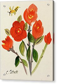 Chinese Red Rose With Bee Acrylic Print