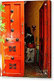 Chinese Red Shop Door Acrylic Print by Mexicolors Art Photography
