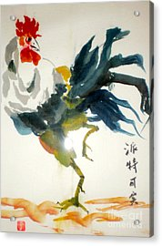 Acrylic Print featuring the pastel Chinese Rooster by Pat Crowther