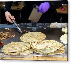 Acrylic Print featuring the photograph Chinese Street Vendor Cooks Onion Pancakes by Yali Shi
