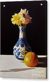 Chinese Vase And Orange Acrylic Print by Daniel Montoya