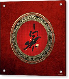 Chinese Zodiac - Year Of The Tiger On Red Velvet Acrylic Print