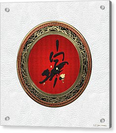 Chinese Zodiac - Year Of The Tiger On White Leather Acrylic Print
