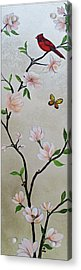 Chinoiserie - Magnolias And Birds #3 Acrylic Print
