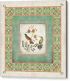 Chinoiserie Vintage Hummingbirds N Flowers 1 Acrylic Print by Audrey Jeanne Roberts