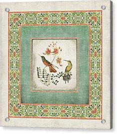 Chinoiserie Vintage Hummingbirds N Flowers 1 Acrylic Print