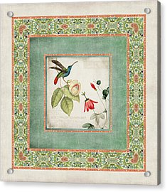 Chinoiserie Vintage Hummingbirds N Flowers 2 Acrylic Print by Audrey Jeanne Roberts