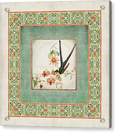 Chinoiserie Vintage Hummingbirds N Flowers 3 Acrylic Print by Audrey Jeanne Roberts