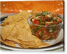 Chips And Salsa Acrylic Print by Karen Scovill