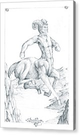 Acrylic Print featuring the drawing Chiron The Centaur by Curtiss Shaffer