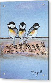 Chirpy Chickadees Acrylic Print by Roxy Rich