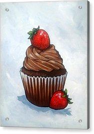 Chocolate Cupcake With Strawberries Acrylic Print