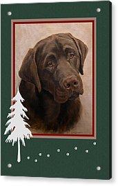 Chocolate Labrador Portrait Christmas Acrylic Print