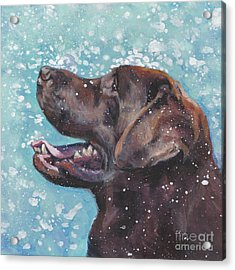 Acrylic Print featuring the painting Chocolate Labrador Retriever by Lee Ann Shepard