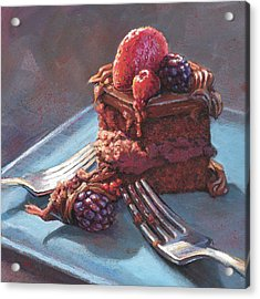 Acrylic Print featuring the painting Chocolate Mousse Heart Cake by Lesley Spanos