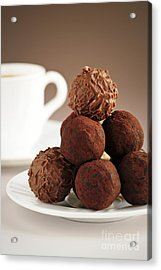 Chocolate Truffles And Coffee Acrylic Print by Elena Elisseeva