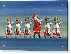 Choirboys And Santa Acrylic Print by Stanley Cooke