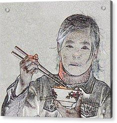 Chopsticks And Rice Acrylic Print by Jim Justinick
