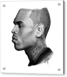 Chris Brown Drawing By Sofia Furniel Acrylic Print