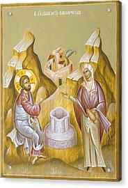 Christ And The Samaritan Woman Acrylic Print by Julia Bridget Hayes