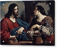 Christ And The Woman Of Samaria Acrylic Print by Giovanni Francesco Barbieri Guercino