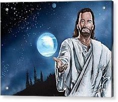Christ At Night Acrylic Print by Bill Richards