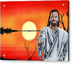Christ At Sunrise Acrylic Print by Bill Richards