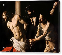 Christ At The Column Acrylic Print by Caravaggio
