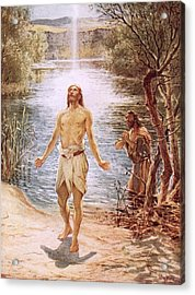 Christ Baptised By John The Baptist Acrylic Print by William Brassey Hole