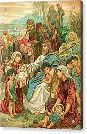 Christ Blessing Little Children Acrylic Print by English School