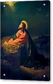 Christ In Garden Of Gethsemane Acrylic Print by Heinrich Hofmann