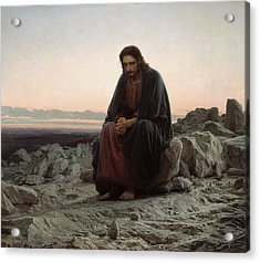 Acrylic Print featuring the painting Christ In The Desert by Ivan Kramskoi