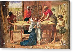 Christ In The House Of His Parents Acrylic Print by JE Millais and Rebecca Solomon
