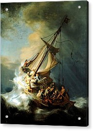 Christ In The Storm Acrylic Print by Rembrandt