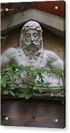 Christ On Shrine In Venice With Leaves Acrylic Print by Michael Henderson