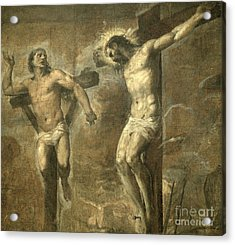 Christ On The Cross And The Good Thief Acrylic Print by Titian