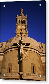 Christ On The Cross Outside The Nortre Dame De La Garde Acrylic Print by Sami Sarkis