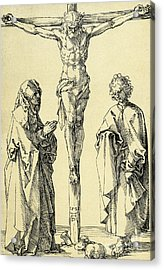 Christ On The Cross With Mary And John The Baptist Acrylic Print