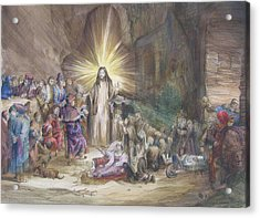 Acrylic Print featuring the painting Christ Preaching          by Rick Ahlvers