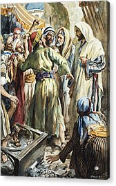 Christ Removing The Money Lenders From The Temple Acrylic Print by Henry Coller