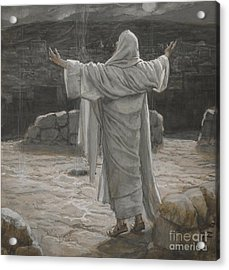 Christ Retreats To The Mountain At Night Acrylic Print by Tissot