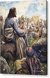 Christ Teaching Acrylic Print by English School