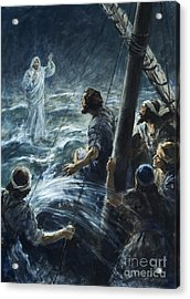 Christ Walking On The Sea Of Galilee Acrylic Print by Henry Coller