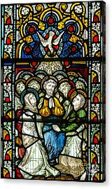 Christian Pentecost On A Stained Glass At Christ Chuch Cathedral Dublin Acrylic Print by RicardMN Photography