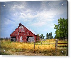 Christian School Road Barn Acrylic Print by Cricket Hackmann