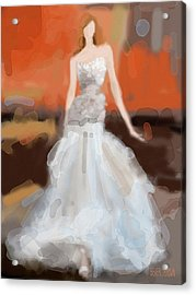Christian Siriano Grey Dress Fashion Illustration Acrylic Print by Beverly Brown