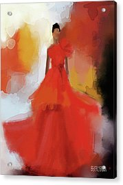 Christian Siriano Red Dress Fashion Illustration Acrylic Print by Beverly Brown