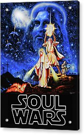 Acrylic Print featuring the painting Christian Star Wars Parody - Soul Wars by Dave Luebbert