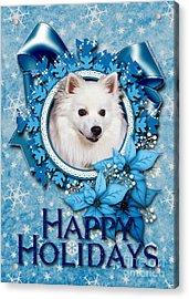 Christmas - Blue Snowflakes American Eskimo Acrylic Print by Renae Laughner