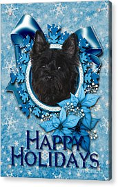 Christmas - Blue Snowflakes Cairn Terrier Acrylic Print by Renae Laughner